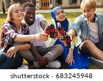 enthusiastic optimistic friends ... | Shutterstock . vector #683245948