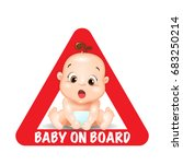 baby on board red triangle... | Shutterstock .eps vector #683250214