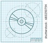 vector blueprint compact disc... | Shutterstock .eps vector #683250754