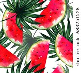 watercolor tropical background... | Shutterstock . vector #683251528