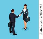 isometric businessmen shake... | Shutterstock .eps vector #683253733