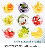 set of fruit juice splash .... | Shutterstock .eps vector #683266633