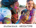 happy young multiethnic couples ... | Shutterstock . vector #683267398