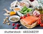 balanced diet food concept.... | Shutterstock . vector #683268259