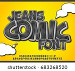 black denim font on yellow... | Shutterstock .eps vector #683268520