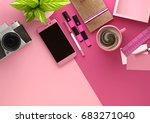 top down view of modern work... | Shutterstock . vector #683271040