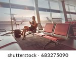 happy charming lady is sitting... | Shutterstock . vector #683275090