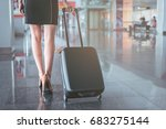elegant lady with suitcase is... | Shutterstock . vector #683275144