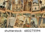 vintage photo cards collage on... | Shutterstock . vector #683275594