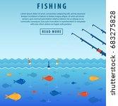 fishing banner. three abandoned ...   Shutterstock .eps vector #683275828