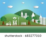 illustration of landscape with... | Shutterstock .eps vector #683277310