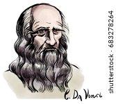 Vector hand drawn watercolor portrait with famous artist Leonardo da Vinci and his signature.