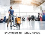 hilarious smiling man carrying... | Shutterstock . vector #683278408