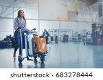 hilarious woman carrying her... | Shutterstock . vector #683278444
