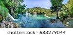 panoramic view of waterfall... | Shutterstock . vector #683279044