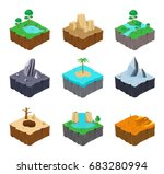 set of isometric game islands.... | Shutterstock .eps vector #683280994