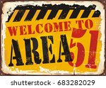 welcome to area 51 retro road...   Shutterstock .eps vector #683282029