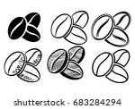 icon coffee beans | Shutterstock .eps vector #683284294
