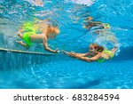 baby son learn to swim with... | Shutterstock . vector #683284594