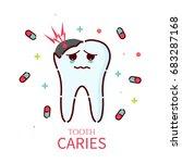 sad cartoon tooth character... | Shutterstock .eps vector #683287168