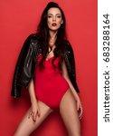 fashionable woman wear red... | Shutterstock . vector #683288164