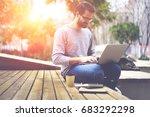 positive bearded hipster guy in ... | Shutterstock . vector #683292298