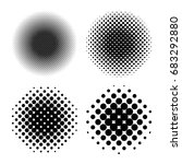 set of circle halftone  dots ... | Shutterstock .eps vector #683292880