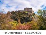 edinburgh castle in spring... | Shutterstock . vector #683297608