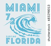 surf florida typography  tee... | Shutterstock .eps vector #683298013