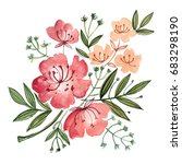 pink flowers and leaves painted ... | Shutterstock . vector #683298190