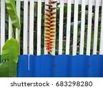 white and blue fence of the... | Shutterstock . vector #683298280