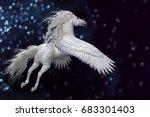 white pegasus in sky 3d...   Shutterstock . vector #683301403