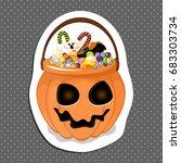 halloween bucket filled with... | Shutterstock .eps vector #683303734