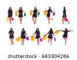 fashion woman set with bags | Shutterstock .eps vector #683304286