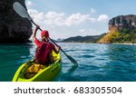 woman paddles kayak in the... | Shutterstock . vector #683305504