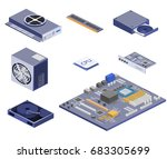 isometric flat 3d isolated... | Shutterstock .eps vector #683305699