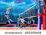female professional volleyball... | Shutterstock . vector #683309608