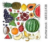 square of fruit. fresh food.... | Shutterstock .eps vector #683311438