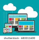flat design cloud computing... | Shutterstock .eps vector #683311600