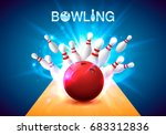 bowling club poster with the... | Shutterstock .eps vector #683312836