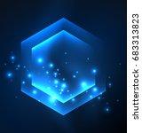 techno glowing glass hexagons... | Shutterstock .eps vector #683313823
