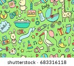 hand drawn seamless pattern... | Shutterstock .eps vector #683316118