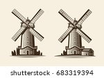 old wooden mill  windmill logo... | Shutterstock .eps vector #683319394
