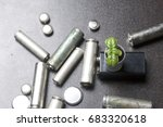 batteries and green sprout.... | Shutterstock . vector #683320618