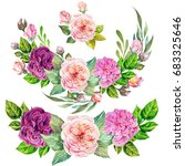 set of roses composition...   Shutterstock . vector #683325646