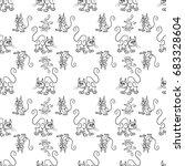 seamless pattern of a cat... | Shutterstock .eps vector #683328604