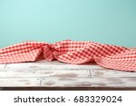 empty wooden table with red... | Shutterstock . vector #683329024