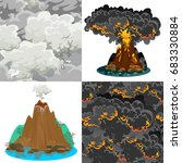a set of volcanoes of varying... | Shutterstock .eps vector #683330884