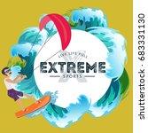 kitesurfing water extreme... | Shutterstock .eps vector #683331130