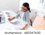 Small photo of business, technology, communication and people concept - businesswoman or secretary calling on smartphone and writing to notebook at office